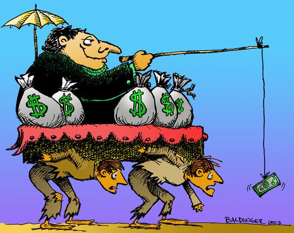"""全球贫富不均持续扩大,富人的财富许多透过剥削劳工跟掠夺环境而来。如同图中,由穷人为其抬轿,他们再拿钱出来""""做慈善""""。(图片来源:SunCityTexasDemocrats)"""